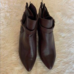 JUstFab Brown Leather Wedge Booties